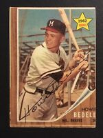 Howie Bedell Braves Signed 1962 Topps Baseball Card #76 Auto Autograph 2