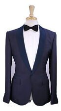 New! * BERLUTI * Navy Blue 100% Dupioni Silk Shawl Tuxedo Dinner 1-Btn Suit 38R