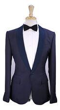 New! * BERLUTI * Navy Blue 100% Dupioni Silk Shawl Tuxedo Dinner 1-Btn Suit 38R
