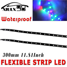2x RGB 30cm 15 LED Tape Flexible Strip Light for Car Motorcycle Truck Waterproof