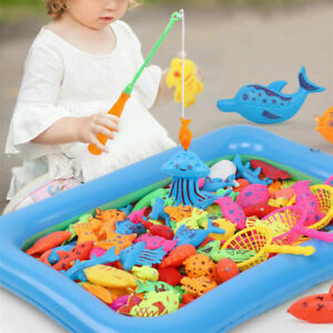 18pcs/Set Baby Kids Magnetic Fish Bath Shower Toys Game Rod Fishing Toddler Gift