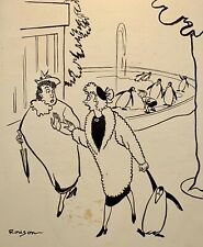ORIGINAL TRUE MAGAZINE GAG CARTOON ART JOHN HENRY ROUSON 1949 NOTE EQUINE ARTIST