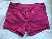 American Eagle Women's Colored Denim Midi Shorts- Pink/Magenta- Size 4- EUC