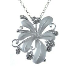 "STERLING SILVER GEMSTONE FLOWER PENDANT NECKLACE WITH 18"" CHAIN & GIFT BOX"