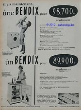 PUBLICITE 1959 UNE BENDIX MACHINE A LAVER UN BENDIX REFRIGERATEUR FRENCH AD