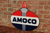 OLD STYLE 2FT AMOCO STANDARD AMERICAN MOTOR OIL GAS TORCH 2SIDE SIGN USA MADE