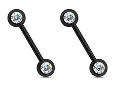PAIR 14G BLACK STEEL DOUBLE FRONT CZ FACING GEM NIPPLE RINGS BARBELL NIPPLERINGS