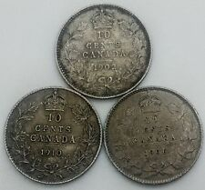 Canada 10 Cents Lot of  3   Different nice Grade Edward VII  1902H 06 10