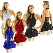 Women Sequins Gymnastic Ballet Latin Jazz Dress Leotard Skirt Dance Costume