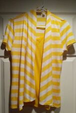 One piece tank and cardigan yellow and white stripe