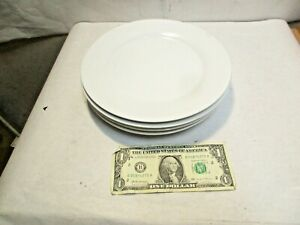 """4 Pottery Barn Caterer's Box Great White Pattern 9"""" Salad Plate Round good shape"""