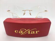 CAVIAR M7002 C21 RIMLESS FRAMES EYE GLASSES 24k GOLD 56-18-140 NEW W. CASE!!!