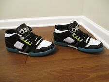 BNIB Size 12 Osiris NYC 83 Mid Shoes Black White Cyan Silver Yellow