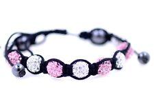 Moda brillante bola de cristal rosa y blanco en pulsera de cuerda de cáñamo