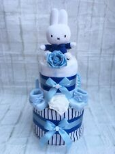 2 TIER MIFFY BLUE BOYS NAPPY CAKE BABY GIFT NEW BABY - FREE POSTAGE!!