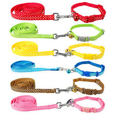 Print Nylon Puppy Small Dog Collar&Leash Set with Bell for Dogs S M L Chihuahua
