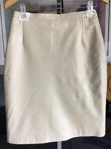 Milan Ladies Super Soft Genuine Leather Cream Skirt New Size 12