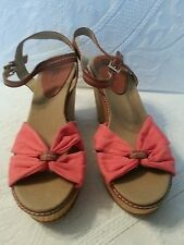 Via Neroli Woven Wedge Espadrill Heel Salmon Canvas and tan Strap Sandals 8 M