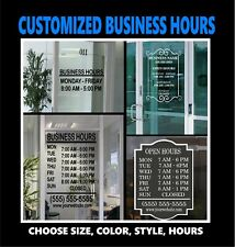 B10 Custom Business Hours Sign Window Door Glass Vinyl Graphic Decal Free Ship