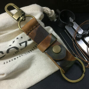 Handmade Italian Veg Tanned Military 101 Leather Key Fob / Key Chains