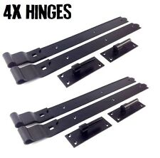 """4X Gate Hinges Cranked 600mm 24"""" Pair Black Heavy Duty Hook And Band Stable Farm"""