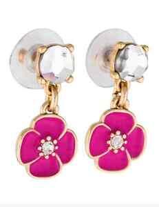 Kate Spade New York 0786 Crystal Pink Fuchsia Gold Drop Dangle Earrings