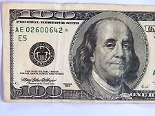 OLD- 1996  $100 STAR NOTE S/N AE 02600642 * Circulated  Replacement U.S. Note.
