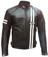 Giacca Uomo Moto Custom Pelle Protezioni CE Rimovibili 46 48 50 52 54 56 58