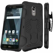 For LG Stylo 3 Black Hard TPU Hybrid Case Cover w/stand Holster