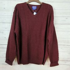 Pendleton MENS SIZE 2XL Lambswool Sweater V-Neck Pullover Burgundy Red NEW