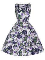 Vintage Retro 1950's White Purple Floral Rockabilly Jive Swing Dress New 8 - 18