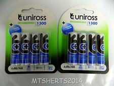 8X Uniross AA Rechargeable Batteries 1300 Series 1200mAh NiMH 1.2V LR6 Pk8 HE36