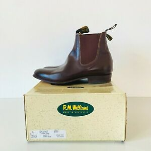 RM Williams Yearling Boots Chestnut Brown Leather Women's Size 8 Vintage 90s Box