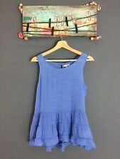 Bongo Women's Knit Top Blue Ruffles Layers Sleeveless Shirt Blouse Size Large
