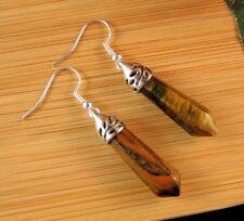 Tigers Eye Natural Gemstone Hexagonal Point Dangle Fashion Earrings #B120