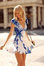 Stylestalker Women's Medium Blue Me Away Print Dress Plunge Neckline Blue $115
