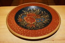 """ROSES GOLD TRIM Plate Country Primitive  WOODEN PAINTED 10"""" VERY PRETTY"""