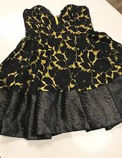 NICOLA FINETTI WOMENS Strapless DRESS LACE FLORAL LINED SEXY PARTY EVENING SZ 12