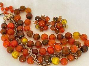 ALICE CAVINESS - Art Glass Vintage Necklace & Earring Set - Signed Designer