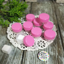 100 Pink Cap Lid #2801 Mini JARS Makeup Sample Container 1/8oz  Made in USA New