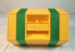 Vintage Rolykit Rolling Storage Case Toolbox Fishing Sewing Yellow/Green