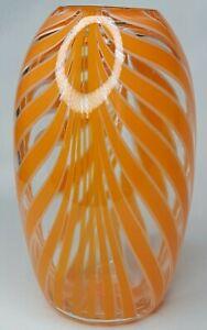 Orange, White, Clear Glass Fluid Pattern Striped Vase