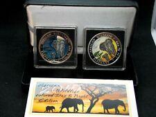 "2015 Somalia ""ELEPHANT"" Colorized 1 oz Silver (2 Coin) Set Box & COA  ECC&C, Inc"