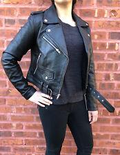 Womens Genuine Leather Classic Crop Biker Jacket Lamb Moto Black  S M L XL 2XL