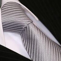 Krawatte Krawatten Schlips Binder de Luxe Tie cravate 221 silber grau gestreift