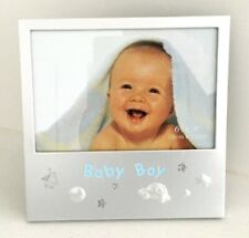"""Baby Boy Photo Picture Frame Silver Metal Christening Birthday Gift 6"""" x 4"""" Bc"""