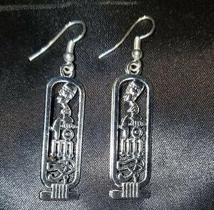 Egyptian Cartouche Silverplated Pierced Dangle Earrings, Nefertiti Horus Ma'at
