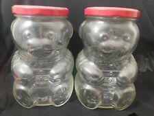 "Vintage Glass Teddy Bear Storage Jelly Jar Clear Red Metal Lid 6"" Set 2"