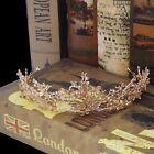 Women Gold Flower Rhinestone Bridal Crown Tiaras Wedding Diadem Hair Accessories