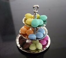 30 Macaroon on 3 Tiers Silver Stand Dollhouse Miniatures Food Bakery Display